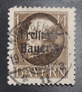 1919年ドイツバイエルン切手1M 使用済み