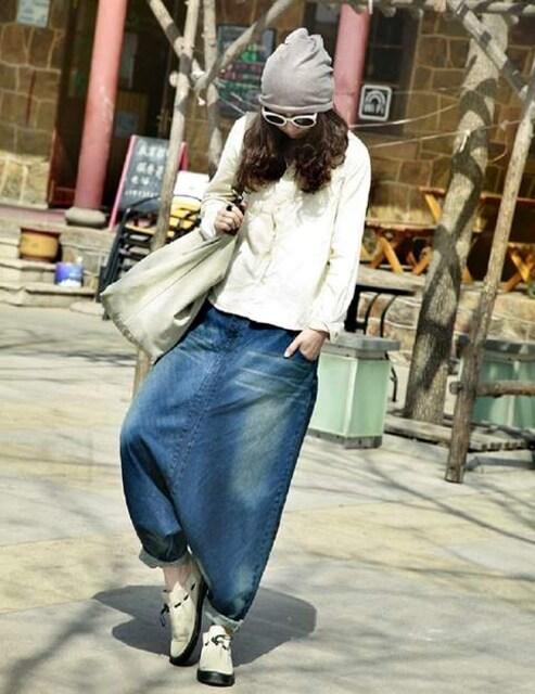 ももんが★ゆったりタイプ★デニム★ハーレムパンツ(Sサイズ) < 女性ファッションの
