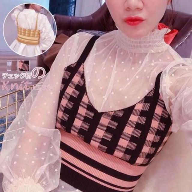 お試し価格★新作 チェック柄のニットキャミソール ピンク  < 女性ファッションの