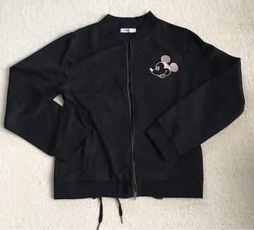 ディズニー・ミッキー刺繍バックレースアップジャケット黒