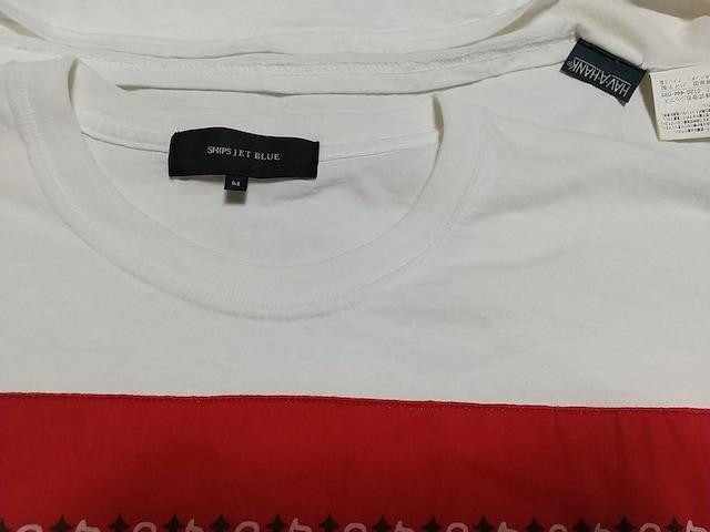 シップスジェットブルーSHIPS JET BLUE HAV-A-HANK TシャツMサイズ白ペイズリー柄 < ブランドの