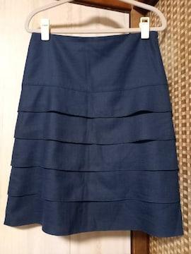 美品★フリル台形ミニスカート(ネイビー)サイズ38