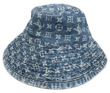 正規ルイヴィトンモノグラムデニム帽子シャポーモノグ