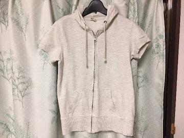 美品半袖パーカーフード付オフホワイトグレーMサイズ