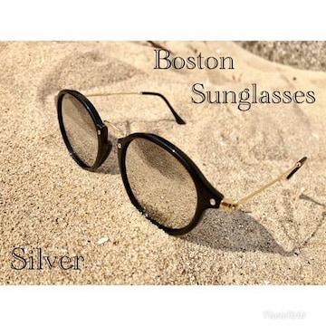 サングラス ボストン  ミラーレンズ 伊達メガネ UV400 シルバー