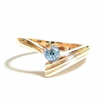 7号 ピンキー クリスタル アクアマリン ピンクゴールド 指輪