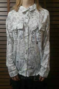 即決DEAD総柄タトゥーシャツ!ゴシックパンクロックロリータスタイル