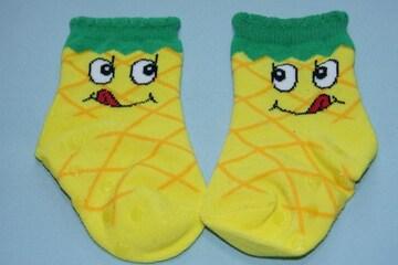 キュート♪パイナップル柄ベビーソックス靴下/10-15cmくるぶし