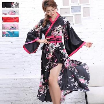 サテン和柄 着物ドレス 花魁 ドレス 衣装 よさこい ダンス コスプレ チャムドレス