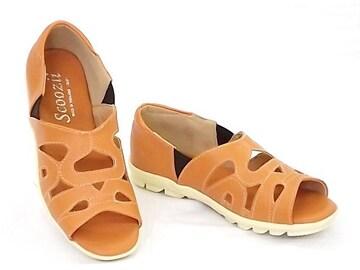 Scoozii 6816 22.5cm オレンジ オープントゥサンダル カジュアル