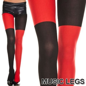 A459)MusicLegsブラック×レッドミスマッチストッキング黒赤カラータイツダンス衣装コスプレ