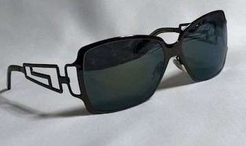 正規 VERSACEヴェルサーチ グレカGエンブレム メタルサングラス黒×青系ミラー 眼鏡