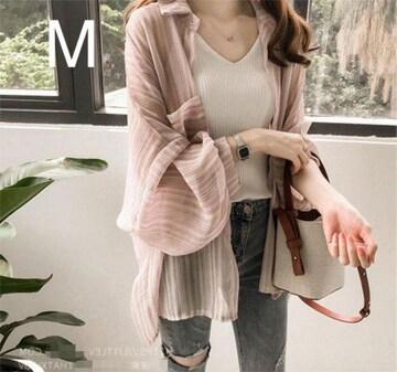 新品☆ストライプ♪シフォン シャツ☆ピンク M