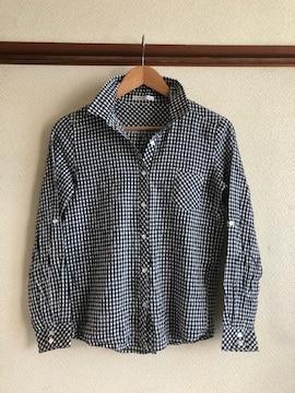 美品モノトーンブロックチェックシャツサイズM