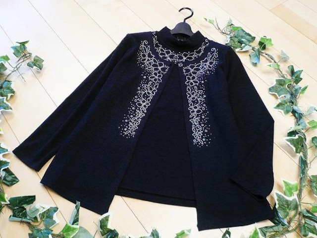【新品】6416【L】花模様 フェイクアンサンブル 紺  < 女性ファッションの