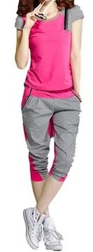 半袖 & 7分丈 ロングパンツ ピンク