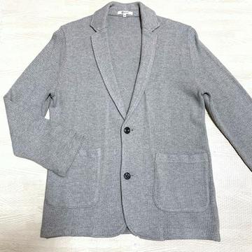 【美品】ワッフル地カジュアルジャケット/メンズM/グレー/綿100%