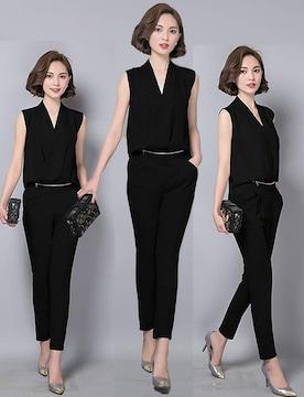 オールインワン パンツドレス (XL寸・黒)