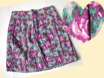 344新品★レトロ可愛いミニタイト スカート グレー 紫 花柄