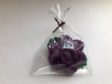 ハンドメイド アクリルたわし 抗菌防臭 薔薇 パープル