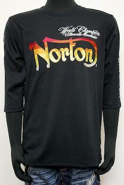 新品Norton DRYカラーグラデ刺繍7分袖T 黒L 213N1100