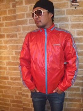 【美色】アディダス収納フード付ナイロンジャケット赤×水色L♪ジェレミー