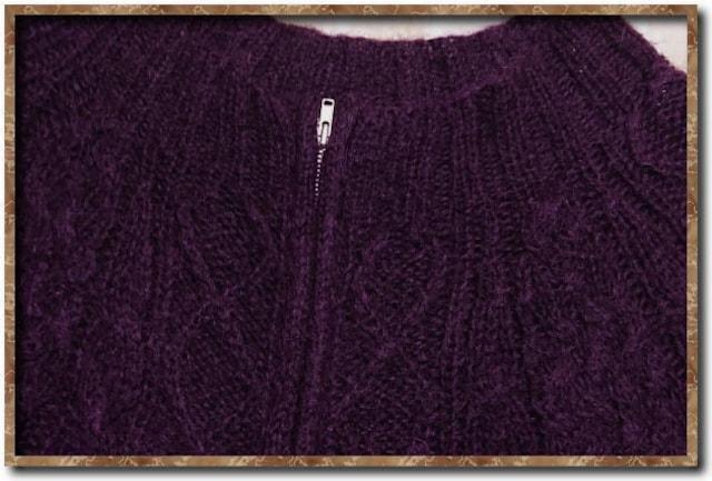 スナオクワハラ リボン付きモヘヤジップニット 紫 < ブランドの