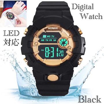 スポーツ腕時計 LED デジタル 腕時計 時計 ミリタリー 黒