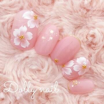 みぢょ!ショートオーバル春色可愛いピンク桜さくらお花見ネイル