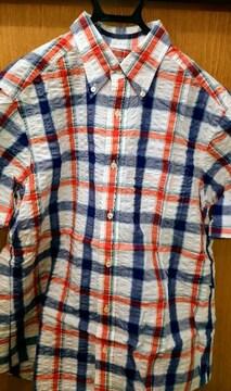 メンズアウター 半袖シャツ 白地チェック柄 Mサイズ