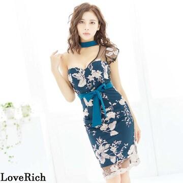 ワンショルダー 花柄刺繍 アシンメトリー 衣装 ミニドレス