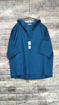 *セルフサービス*コットンリネン フード付羽織 新品 ブルーグリーン
