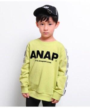 新品ANAPKIDS☆130 ロゴ トレーナー 袖ロゴライン  黄緑 アナップキッズ