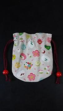 ハンドメイド 【ミニポーチ 巾着★雪うさぎ&和菓子柄】