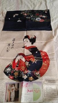 絵柄の部分37×37額に飾って着物のハギレに印刷された舞妓