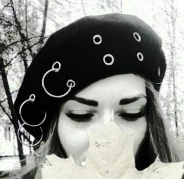 ピアス ベレー帽 ブラック 帽子 、