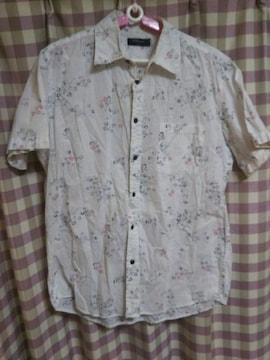 ★オシャレデザイン 和柄 半袖 シャツ 激渋 サイズL 花柄 大きめ●