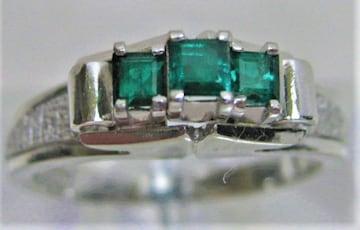 Pt900 プラチナ リング 指輪 エメラルド 0.37ct b
