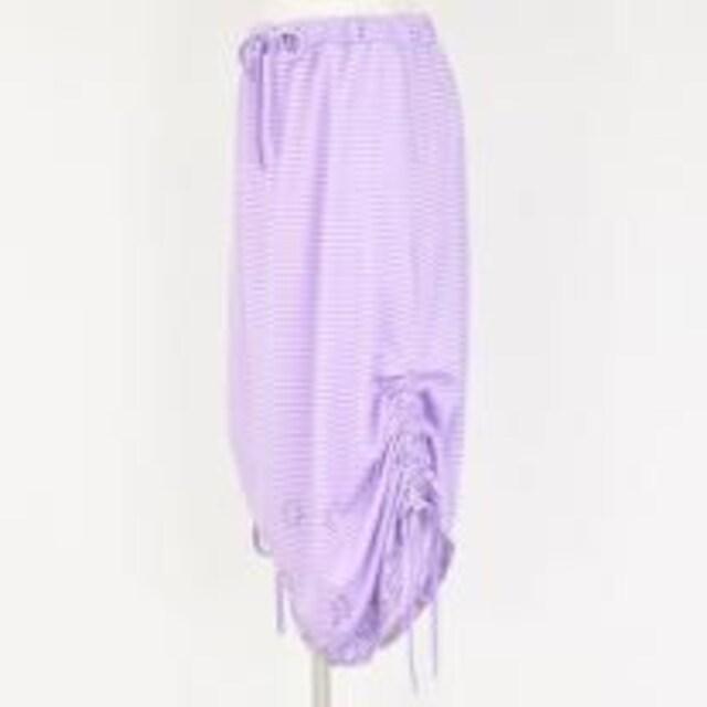 mintNeko・ネコ&ボーダー柄変形ロングスカート。ラベンダー < ブランドの