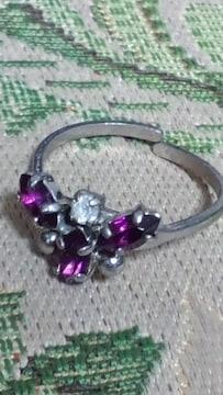 アメジスト風リング指輪フリーサイズ★アンティーク