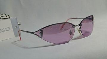 正規美レア ヴェルサーチVERSACE メデューサロゴメタルフレームサングラス ピンク×クローム