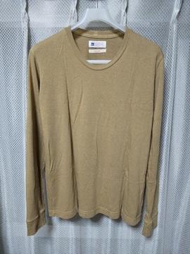 miusa ミューザ 長袖Tシャツ カットソー Sサイズ カーキ ベージュ USA製 ロンT ミリタリー