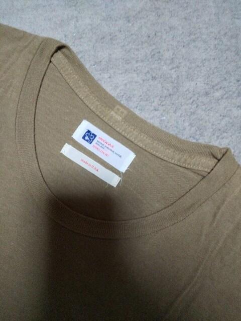 miusa ミューザ 長袖Tシャツ カットソー Sサイズ カーキ ベージュ USA製 ロンT ミリタリー < 男性ファッションの