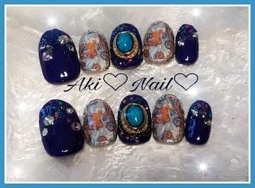 ジェルネイルチップ☆付け爪〜ペイズリー柄×ターコイズ☆青紫