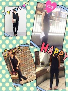 SPRAY PREMIUM★美品★ノースリーブロンパースサルエルパンツ黒M
