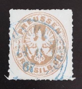 1861年ドイツ プロセイン切手3sgr 使用済み