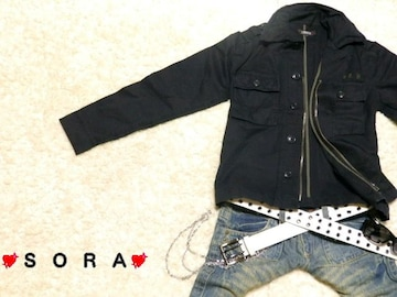 【LOWBOX】襟.胸ポケットワイヤー入♪フロントジッパー&釦 ロゴ刺繍ジャケット