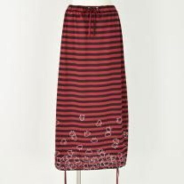 mintNeko・ネコ&ボーダー柄変形ロングスカート。レッド