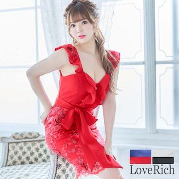 フリルデザイン 花柄刺繍 リボン ミニドレス チャムドレス