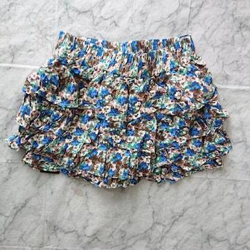 159新品★ミニスカートっぽい ショートパンツ 青 小花柄